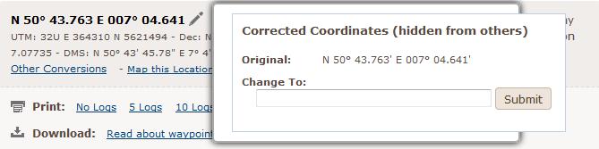 Ansicht des korrigierte Koordinaten Editors auf Geocaching.com
